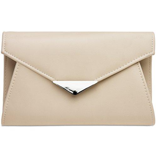 Für Frauen Clutch-taschen (CASPAR TA363 elegante Damen XL Envelope Clutch Tasche / Abendtasche / Umhängetasche mit langer Kette, Farbe:nude;Größe:One Size)