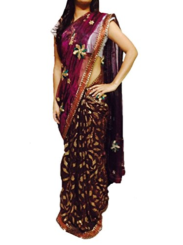 Anokhi Ada Women's Tissue And Georgette Sarees(208_Multi-Coloured)