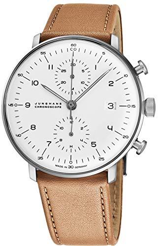 Junghans Max Bill Herren-Armbanduhr 40mm Armband Leder Automatik 027/4502.00