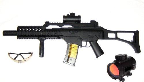 Speedfire M41K1 Softair-Gewehr Sturmgewehr Set inkl. Tragegurt, Laser, Visier, Schutzbrille schwarz unter 0,5 Joule ab 14 Jahre Kinder-Gewehr Spielzeug-Gewehr