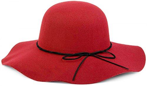 styleBREAKER Floppy Fedora Filzhut mit schmalem Zierband und Schleife aus Filz, Hut, Damen 04025008, Farbe:Rot