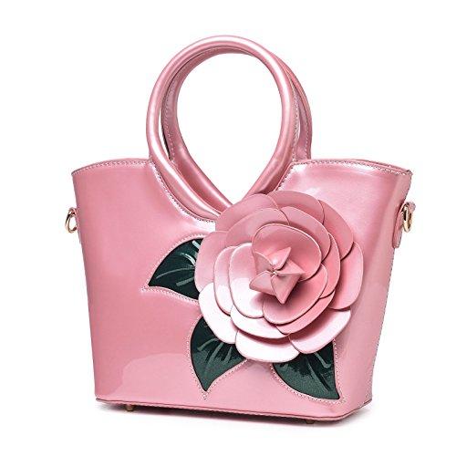 KAXIDY Borse Vernice Pelle Borsa Fiore Borse Eleganti Borse Tracolla Totalizzatore Rosa