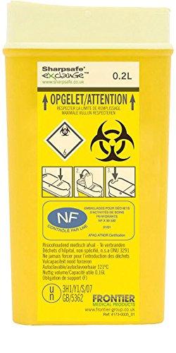 Sharpsafe Behälter für fhshar28Nadeln für Patienten autotraitement oder Krankenschwester mannigfaltigkeit, 0,2l, Höhe: 146mm x 79mm x 37mm Länge Breite, Gelb (100Stück)