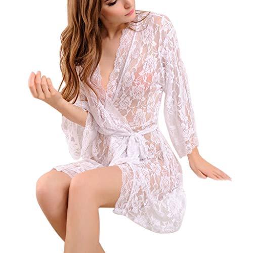 (Damen Spitze Kimonos Dessous Frauen Sexy Mesh Babydoll Floral Robe Tanga Trim Nightware Frauen Nachthemd Nachtwäsche Weiß,One Size)
