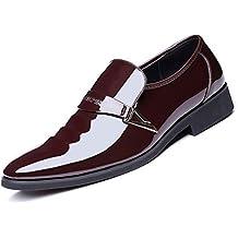 6e0a07249483 Derby Homme Chaussures de Ville Sans Lacets Vernies Brillantes Designer  Italien Cuir Daim Habillées Élégantes Souliers