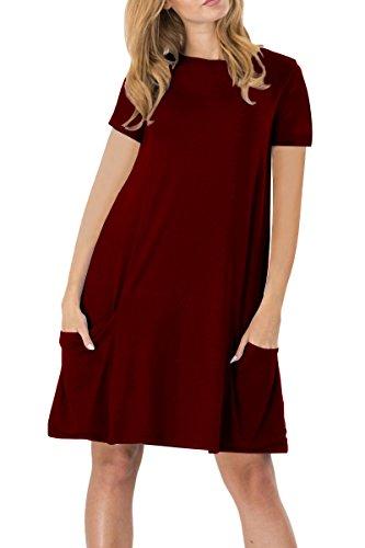 YMING Damen Kurzarm mit Taschen Kleid Lose T-Shirt Kleid Rundhals Casual Tunika Midi Kleid,Burgundy,M / DE 38-40 (1950er-jahre-t-shirts)