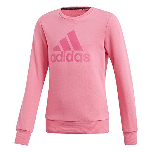adidas Kinder Must Haves Badge of Sport Crew Sweatshirt, Semi Solar Pink/Real Magenta, 128 Angel Pink Sweatshirt
