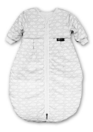 Alvi Schlafsack Mäxchen Thermo mit Arm | Babyschlafsack ÖKO-TEX zertifiziert | Alvi Außensack mit Arm | Winterschlafsack 3,0 TOG, Größe:90, Design:Wolke silber 653-9