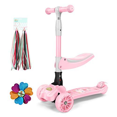 Tretroller Kickscooter Faltender Stoßdämpfender, Verstellbarer Kindersitz/Scooter Scooter, PU großes blinkendes Rad, Alter für 2-10 Jahre alt (Farbe : Pink)