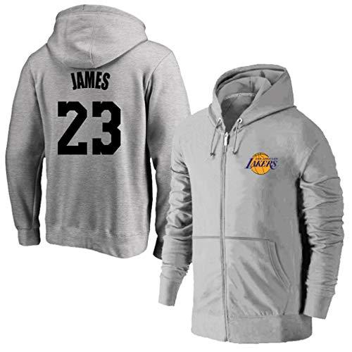 MFsports L.A. Lakers Lebron James Zip up Hoodies Kapuzenober, Hoodie für Herren Zipper Jacket Hoodies Sweatshirts, Männer Basketball Sport Breathable Kapuzen Jacke