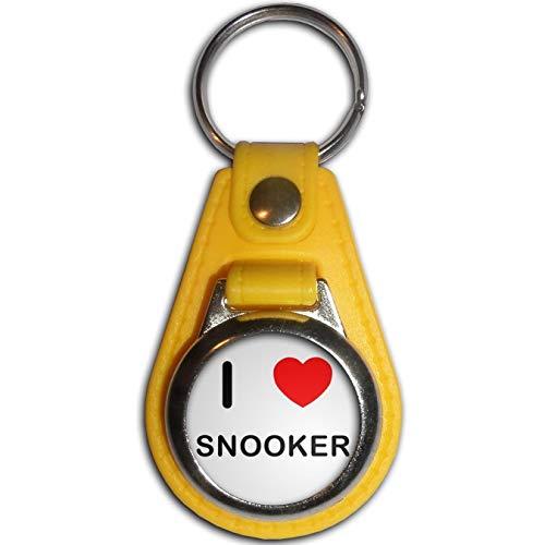 BadgeBeast.co.uk I Love Snooker - Gelber Plastikmedaillon-Schlüsselring