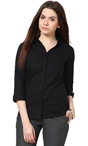 The Gud Look Women's Cotton Black Black Slim Shirt