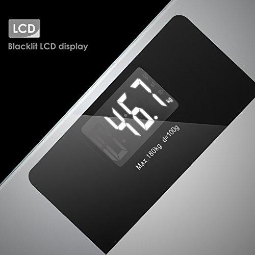 Deik Bilancia Pesapersone Digitale alta Stabilità Piattaforma Vetro Temperato con LCD Schermo Retroilluminato,Tecnologia Step-on, includere metro a nastro e batteria AAA, 5kg-180kg - 6