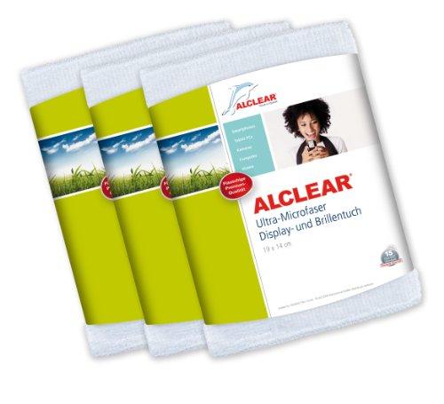 ALCLEAR 950003i Ultra-Microfaser Displaytuch für iPhone, iPad und iPod, 19x14 cm, weiß , 3er Set