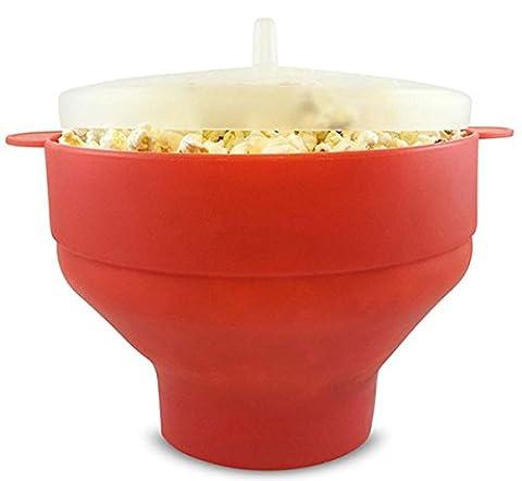 Fanaticism Mikrowelle Popcorn Popper, Schüssel für Popcorn, Schüssel mit Deckel, zusammenfaltbar, 25*14.5 cm (rot)