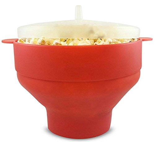 Fanaticism Mikrowelle Popcorn Popper, Schüssel für Popcorn, Schüssel mit Deckel, zusammenfaltbar, 25*14.5 cm - Schüssel Popcorn,