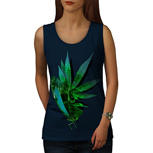 Marihuana Schmetterling Insekt Blatt Damen S-2XL Muskelshirt   Wellcoda Marine