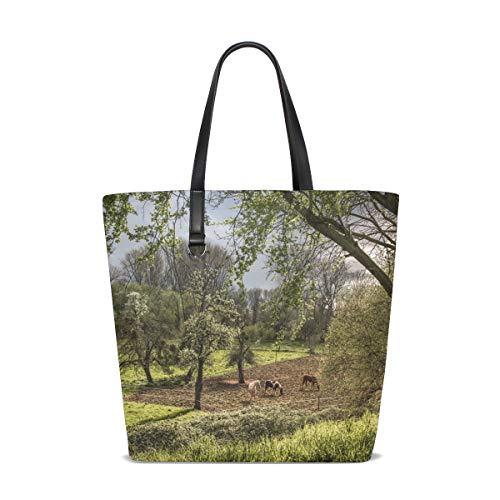 Einkaufstasche Handtasche 12,6 x 5 x 14,8 Zoll niedlich stilvolle Frühling blühende Bäume Pferde -