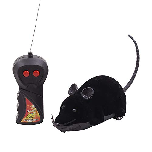 CWZJ Elektro-Stemote-Steuerung Mouse Remote Control Animal Toys Pet Cat ToysPet Puzzle Flocking Mouse Toys,Black
