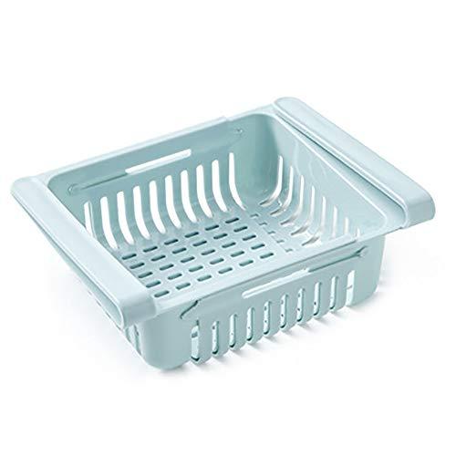 Maruis Aufbewahrungskorb aus Kunststoff mit einziehbarer Schublade, Aufbewahrungsbox, Kühlschrank, Sortierung, für Ordnung im Kühlschrank, hellblau, as picture shows