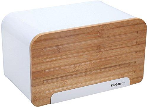 KINGHOFF Iweks Élégant, élégante Boîte à pain Acier avec planche à découper en bois fabriqué en tant que Couvercle : Pain Boîte de rangement