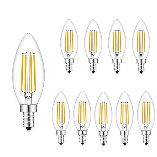 LED-Kerzenlampen Kleine Schraube E14 - Packung mit 10 Filamentklaren LED-Leuchtmittel 4W 360LM, 40 Watt Edison-Glühbirne SES E14, 30.000 Stunden Lebensdauer -