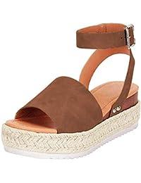 1c54a635ef9b FIRENGOLI Sara Love Womens Wedges Sandal Open Toe Ankle Strap Trendy  Espadrille Platform Sandals Flats