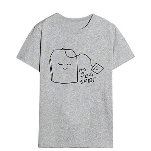 T Shirt Damen Sommer Bluse Shirts Tops Hemd Tunika Mädchen Plus Size Print Tee Kurzarm(Grau,M)