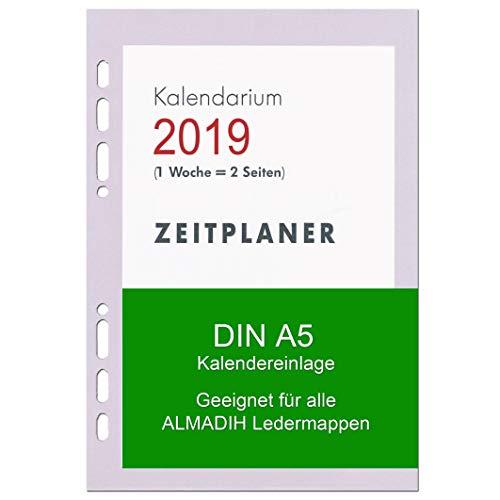 A5 Kalendereinlage 2019 für ALMADIH Ledermappen: A5 Terminplaner & Organizer - (1 Woche auf 2 Seiten) Ersatzkalendarium Kalender Einlagen Zeitplaner Time-Planer Jahresplan (A5 2019-1 Woche 2 Seiten)