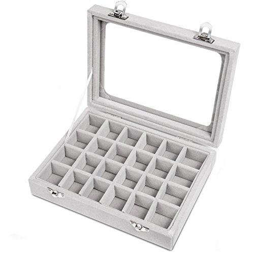 er Damen Schmuckkasten Schmuck Box Schmuckkoffer Schmuckständer Aufbewahrungsbox für Ringe Ohrringe Halskette(Grau) ()