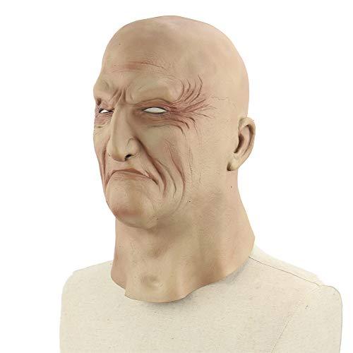 LJYASD Halloween Alter Mann Maske Emulsion Kopfbedeckung Unheimlich Terror Unterwelt Boss Komisch
