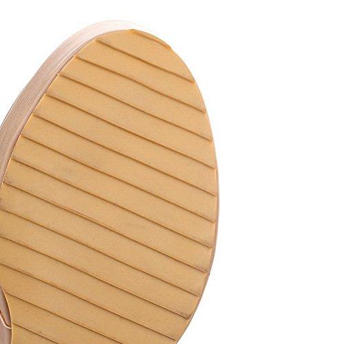 VogueZone009 Donna Bassa Altezza Puro Tirare Tacco Alto Stivali con Metallo Albicocca