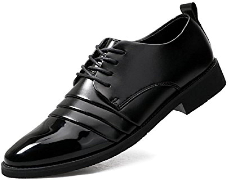 LYZGF Zapatos De Cuero De Cordones Puntiagudos Casados con Cordones,Black-42 -