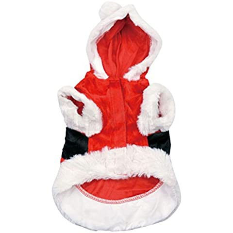 EOZY Abrigo Chanqueta Ropa con Capucha para Perro Navidad Fiesta Macho Rojo Asia L:Busto 50CM