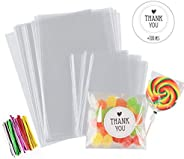"""200Pcs Candy Treat Bags 4"""" x 6"""" Cake Pop Wrappers 2.8'' x 4'' Kit with Twist Ties Cl"""