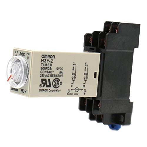 heschen Timer Delay Relay h3y-2 12 VDC 5 Sekunden 250 VAC 5 A 8 Pin Terminal DPDT mit DYF08 35 mm DIN Schiene Sockel - Delay-timer