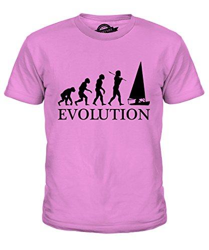 CandyMix Regattasegeln Segeln Evolution Des Menschen Unisex Jungen Mädchen T Shirt, Größe 12 Jahre, Farbe Rosa