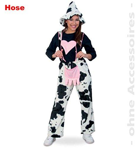Damenkostüm 'Kuhhose mit Herz', Kuh Kühe Milchkuh Schwarz-Weiß im Kuhmuster 1-tlg. Latzhose (X-Large)