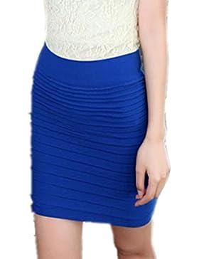 RETUROM Falda de verano, mujeres elásticas plisadas cintura alta cadera paquete faldas cortas