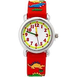 Mixe Hot Selling Dinosaur Sports Watch Kids Time Teacher Young Boys Girls Children Analog Wrist Watch Cartoon 3D Silicone Band Red