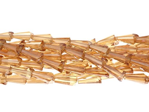 Glas-kegel-zubehör (Creative Beads Glasperle, Schliffperle, Crystalstar Kegel ca.6x12mm, Strang ca.25Stück, light col. topaz, hochwertige, geschliffene Kristallperle zum Selbermachen von Ohrringen, Armbänder, Kette, Schmuck, zum Basteln, gestalten, dekorieren)