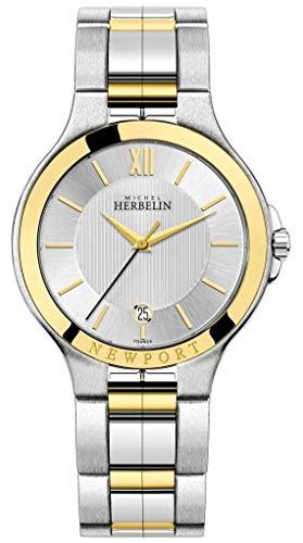 Michel Herbelin mens Newport Royale argento e oro bicolore 12298/BT11