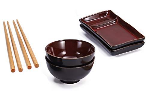 Diseño Sushi Set en color rojo/negro schattierter producto consta de dos platos de sushi con ausnehmung para salsa de soja y wasabi, o dos cuencos para sopa de miso arroz, y dos pares de palillos de bambú. los platos y cuencos son de cerámica, una he...