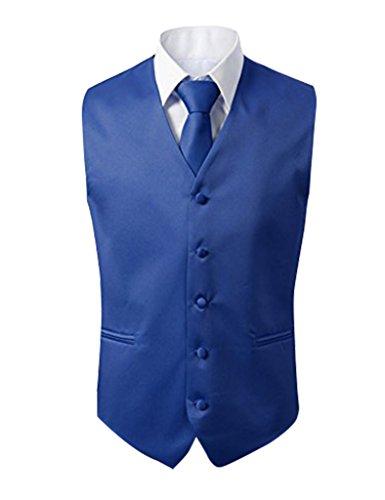 Herren 3 Stueck Weste NeckTie Tasche Square Set fuer Anzug oder Smoking von Judi Dench Koenigsblau