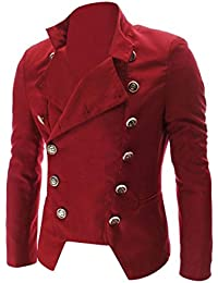 Sourcingmap Men Convertible Collar Double Breasted Long Sleeve Pockets Blazer