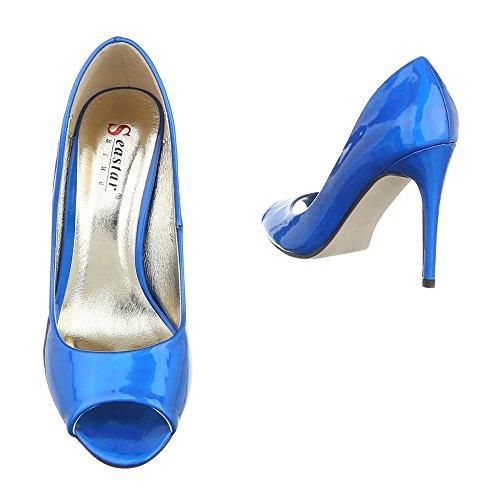 Peep Toe Damenschuhe Peep-Toe Pfennig-/Stilettoabsatz High Heels Ital-Design Pumps Blau