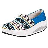Zapatillas Deportivas Plataforma Cuña para Mujer Fondo Grueso con Cojines de Aire Ligero Zapatillas Sneaker Zapatos Casuales Azul Verde Zapatos de Lona Bohemios 35-40 riou