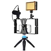 Smartphone Video Rig Kit PULUZ Smartphone Video Grip with Microphone + Video Light + Cold Shoe Tripod Head + Mini Tripod for iPhone Samsung and Most Phones Within 7-inch Screen (Blue)