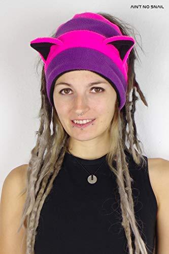 Dreadtube Grinsekatze UV aktiv, Halloween Kostüm, Dreadmütze, CATWRAP mit Katzenohren für Dreadlocks, Bunbeanie