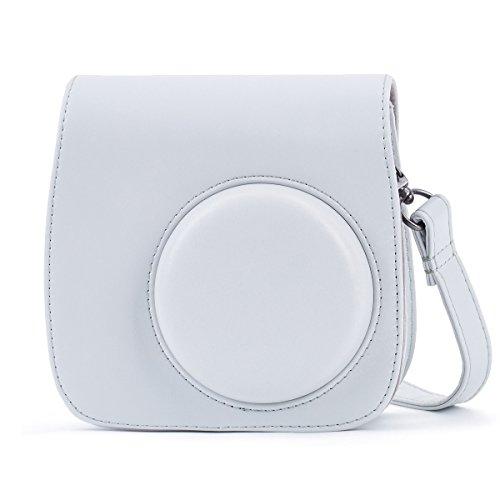 Leebotree Tasche für Fujifilm Instax Mini 8 8+/Mini 9 Sofortbildkamera aus Weichem Kunstleder mit Schulterriemen und Tasche (Smoky Weiß)